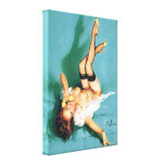 On the Phone - Vintage Pin Up Girl Gallery Wrapped Canvas