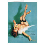 On the Phone - Vintage Pin Up Girl Card