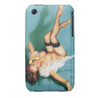 On the Phone - Vintage Pin Up Girl Case-Mate iPhone 3 Cases