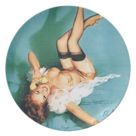 On the Phone - Vintage Pin Up Girl Dinner Plate
