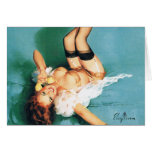 On the Phone - Vintage Pin Up Girl Greeting Card