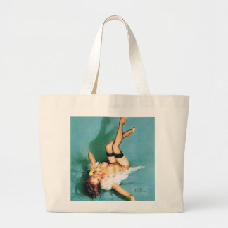 On the Phone - Vintage Pin Up Girl Large Tote Bag