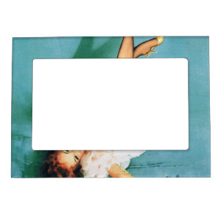 On the Phone - Vintage Pin Up Girl Magnetic Photo Frame