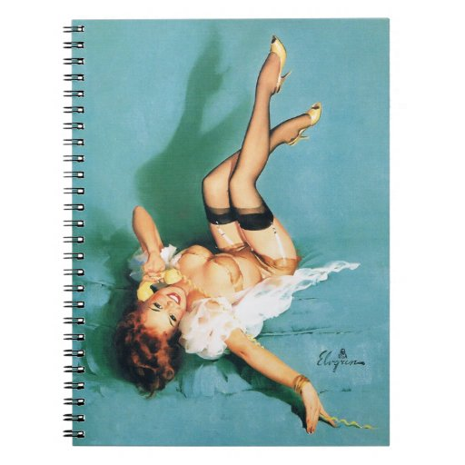 On the Phone - Vintage Pin Up Girl Notebook