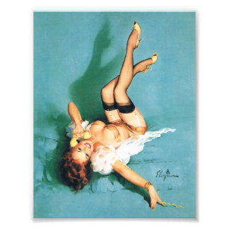 On the Phone - Vintage Pin Up Girl Photo Print