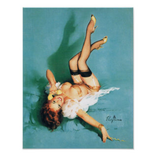 On The Phone - Vintage Pin Up Girl Poster at Zazzle