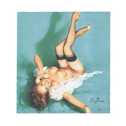 On the Phone - Vintage Pin Up Girl Scratch Pads