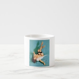 On the Phone - Vintage Pin Up Girl 6 Oz Ceramic Espresso Cup