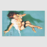 On the Phone - Vintage Pin Up Girl Rectangle Sticker