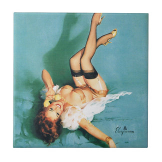 On the Phone - Vintage Pin Up Girl Tile