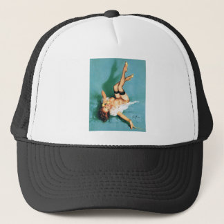 On the Phone - Vintage Pin Up Girl Trucker Hat