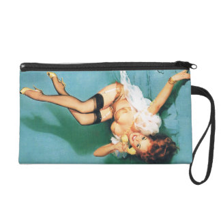 On the Phone - Vintage Pin Up Girl Wristlet Purse