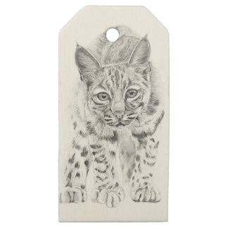 On the Prowl A Young Bobcat Wooden Gift Tags