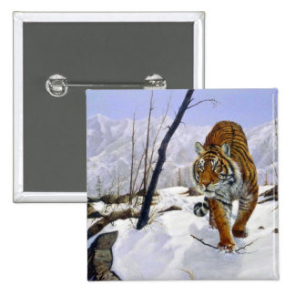 On the prowl, Siberian Tiger Pinback Button