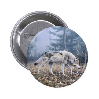 On the Prowl Timber Wolf Pinback Button