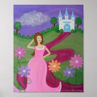 On The Red Carpet - Princess Castle Girls Kids Art Poster