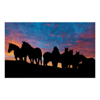 On the ridgeline Horse silhouette poster