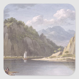 On the River Elbe, near Lowositz in Saxony, plate Square Sticker