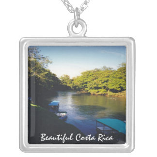 On the River in Beautiful Costa Rica Square Pendant Necklace