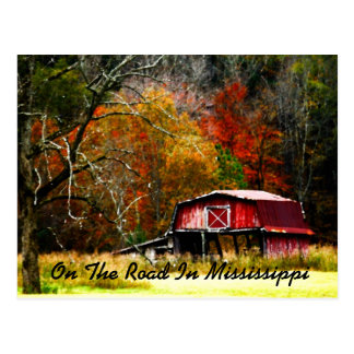 On The Road In Mississippi - Old Barn Postcard