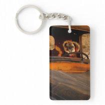 """On the Road Pugain"" Funny Pug Acrylic Keychain"