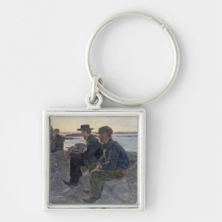 On the Rocks at Fiskebackskil, 1905-6 Silver-Colored Square Keychain