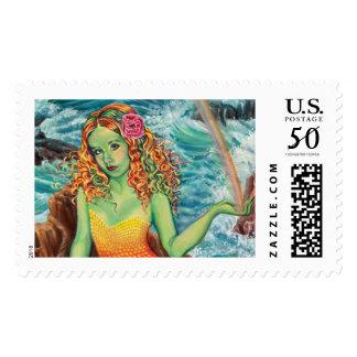 """On The Rocks"" Mermaid Stamp by Kathi Dugan"