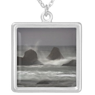 On The Rocks - White Point Beach, NS Square Pendant Necklace