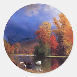 On the Saco - Albert  Bierstadt Classic Round Sticker