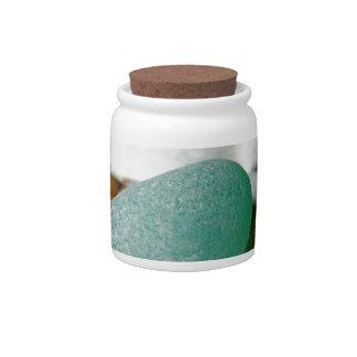 On The Sand Teal Sea Glass Candy Jar