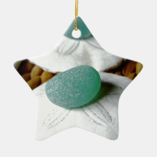 On The Sand Teal Sea Glass Ceramic Ornament