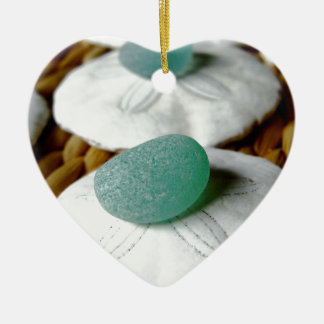 On The Sand Teal Sea Glass Ceramic Ornament