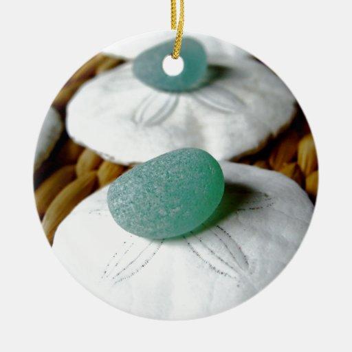 On The Sand Teal Sea Glass Christmas Tree Ornament Zazzle