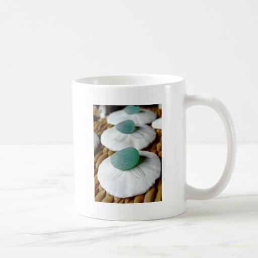 On The Sand Teal Sea Glass Classic White Coffee Mug