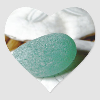 On The Sand Teal Sea Glass Heart Sticker