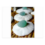 On The Sand Teal Sea Glass Post Cards