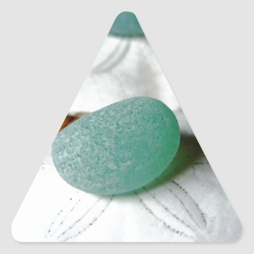On The Sand Teal Sea Glass Triangle Sticker