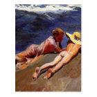 On the Sand, Valencia Beach - Joaquín Sorolla Postcard