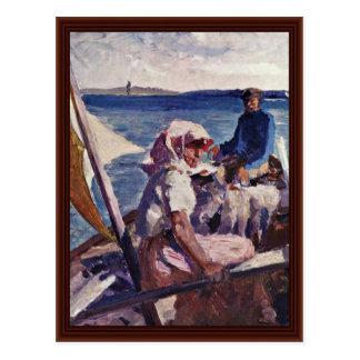 On The Sea By Edelfelt Albert Gustav Aristides Postcards