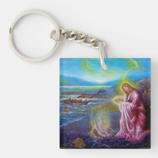 ON THE SEASHORE Double-Sided SQUARE ACRYLIC KEYCHAIN