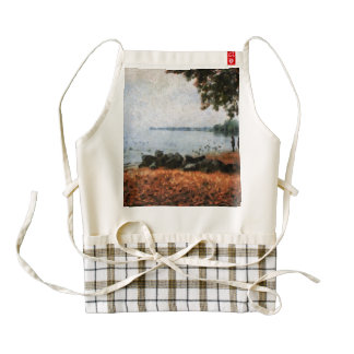 On the shore of a lake zazzle HEART apron