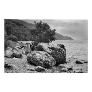 On the shores of Loch Ness B&W Poster