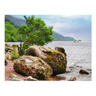On the shores of Loch Ness with the monster Postcard