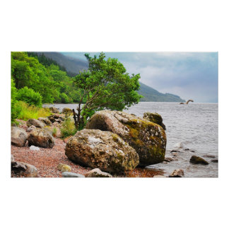 On the shores of Loch Ness with the monster Poster