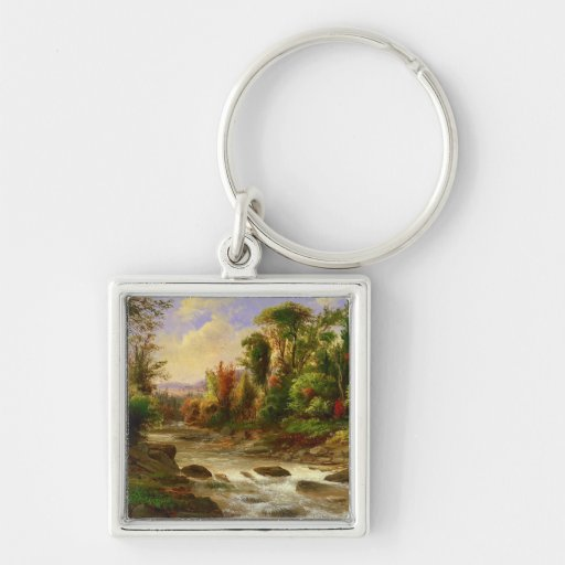 On the St. Annes East Canada by Duncanson Silver-Colored Square Keychain