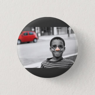on the street clown pinback button