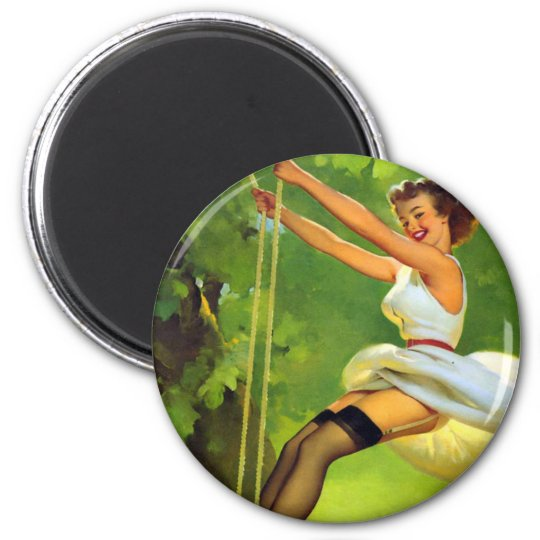 On the Swing Smiling Pin Up Magnet