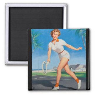 On the Tennis Court Pin Up Art Magnet