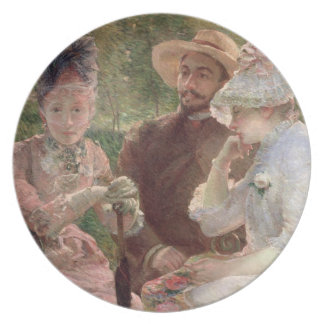 On the terrace at Sevres, 1880 (oil on canvas) Melamine Plate
