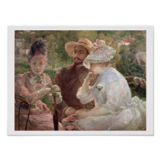On the terrace at Sevres, 1880 (oil on canvas) Print